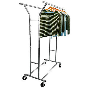 Commercial Adjustable Steel Clothing Rolling Double Garment Rack Hanger Holder