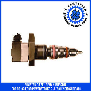 Sinister Diesel Reman Injector For 99 03 Ford Powerstroke 7 3 solenoid Code Ad