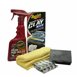 Meguiars Smooth Surface Clay Kit 2x80g Clay Bars 473ml Quik Detailer microfibre
