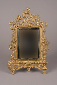 Louis Xv Style French Gilt Bronze Brass Table Vanity Mirror W Stand Circa 1920
