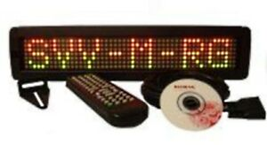 One Line Indoor Tricolor Led Programmable Sign Wireless Remote 17 x4 New