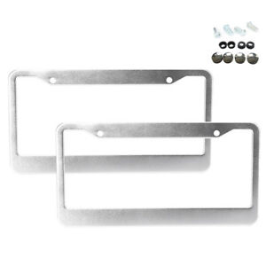 2pcs Stainless Steel Metal Silver License Plate Frame Tag Cover Screw Caps