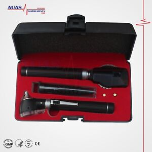 Special Edition Fiber Optic Mini Otoscope Ophthalmoscope Led Ent Set Black