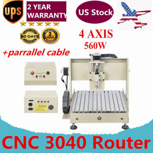 560w 4 Axis Engraver Cnc 3040 Router Woodworking Drilling Machine Desktop