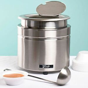 New Stainless Steel 11 Qt Round Countertop Buffet Food Soup Kettle Warmer