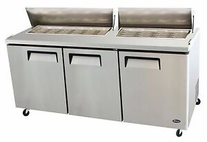 Atosa Stainless Steel Sandwich salad Prep Table 60 inch Two Door Refrigerator