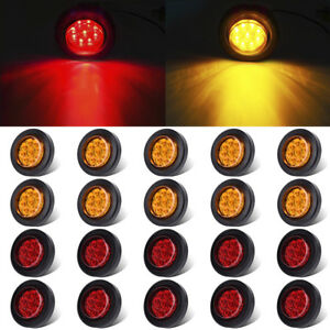 20pcs 2 Round Amber red Side Marker Light 9led Clearence Trailer Truck Rv Light