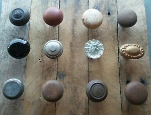 Antique Vintage Old Victorian Brass Glass Door Knob Lot 12 Repurpose