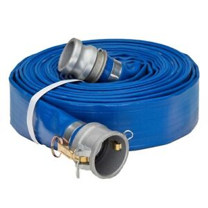 3 0 X 50 Blue Lay Flat Water Discharge Hose W cam And Groove Fittings