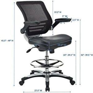 Edge Drafting Chair By Modway In Black Vinyl Tall Reception Desk Chair Office