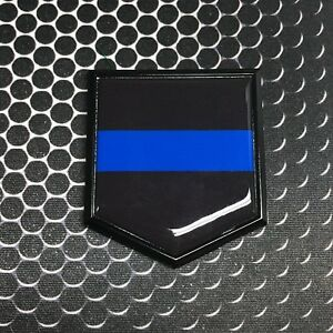 Thin Blue Line Black Emblem Domed Proud Police Flag Car 3d Sticker 2 X 2 25