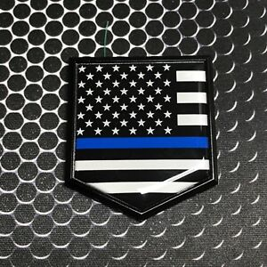 Thin Blue Line Domed Gloss Black Emblem Proud Police Flag 3d Sticker 2x 2 25