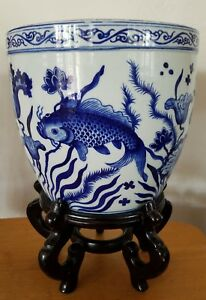 Chinese Blue And White Porcelain Koi Fish Bowl Planter Stand Marked