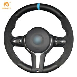 Black Leather Black Suede Steering Wheel Cover Fits Bmw M2 M3 M4 M5 M6 X5 X6