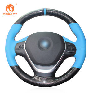 Light Blue Leather Black Pu Carbon Fiber Steering Wheel Cover Fits Bmw F30 F31