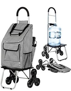 Dbest Products Stair Climber Bigger Trolley Dolly Shopping Cart Houndstooth