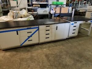 Lot 3 Lab Crafters Laboratory Cabinets Stainless Drawers Resin Top