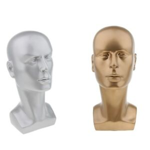2x Pvc Tabletop Male Mannequin Head Hat Scarf Wig Toupee Sunglasses Display