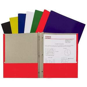 2 pocket Paper Folders case Of 100 Assorted Colors Recycled Document School