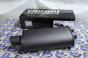 Vibrant Performance Black Universal Muffler Single 3 Inlet Outlet 1147