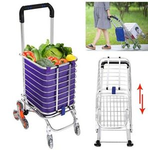 Folding Shopping Cart Lightweight Stair Climbing Cart Grocery Transit