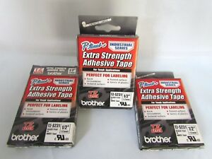 Brother P touch Tz s23 Lot Of 3 Label Tape Extra Strength 1 2 Black On White