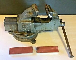 Vintage Usa Rapid 3 1 8 Swivel Mechanic machinist Bench Vise 80 Heavy Duty