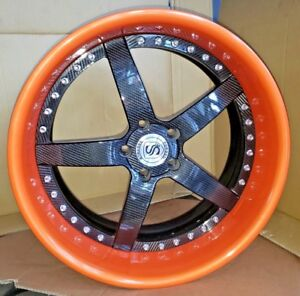Wheel Strasse Forged S5 20x10 5x120 3 Pieces Carbon Fiber Orange
