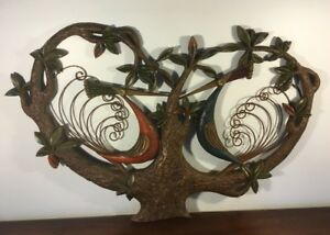 Rare Vintage Mid Century Burwood Peacocks In Tree Wall Hanging Sculpture Large