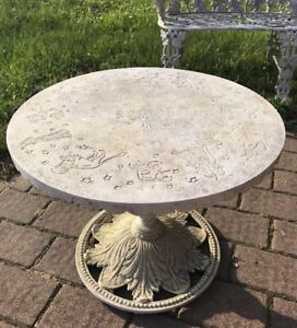 Vintage Cast Iron Garden Table With Zodiac Signs