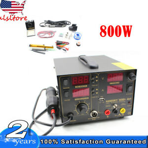 4in1 Soldering Iron Rework Station Hot Air Gun Desoldering Welder 5 Tips 909d