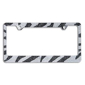 Bling White Black Zebra Designed Crystal Metal License Plate Frame C