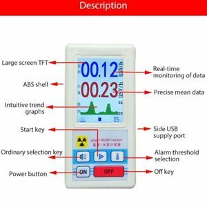 Nuclear Radiation Detector Gamma X ray Geiger muller Counter Tester Lot Hjy