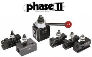 Phase Ii Tool Post Set 5 Holders Piston Ca 14 To 20 Lathe Swing