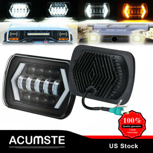 4 X6 Rectangle Cree Led Headlights Sealed Hi Lo Beam Halo Drl Turn Signal Light
