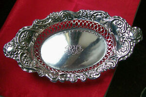 English Hallmarked Solid Silver Table Bowl Basket 1905 By Henry Williamson