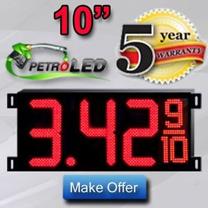 Led Gas Price Sign Digital Changer 2 10 Red Complete Package 2 Signs