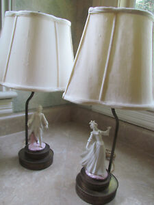 Ceramic Pair Of Figurine Lamps Victorian Man Woman With Brass Base