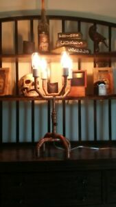Industrial Copper Pipe Table Lamp 4 Bulbs Hand Crafted