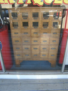 Antique Fully Restored Drug Store 30 Drawer Apothecary Cabinet Quarter Sawn Oak