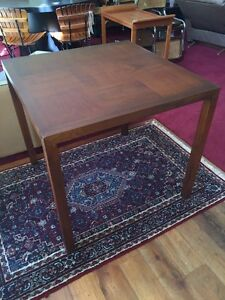 Mid Century Parsons End Table Lane Solid Walnut Wood Inlay 1960s Vintage