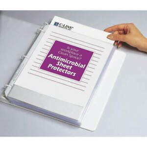 C line Products Polypropylene Sheet Protector antimicrobial pk100 62033 Clear