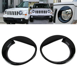 2x Angry Bird Style Front Head Light Lamp Cover Trim For Jeep Patriot 2011 2016
