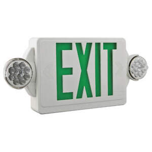 Lithonia Lighting Exit Sign W emergency Lights 3w grn Lhqm Led G