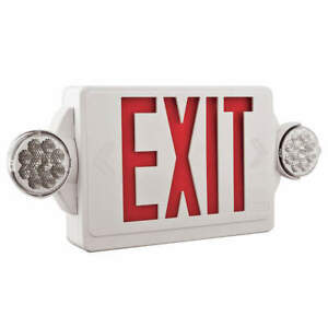 Lithonia Lighting Exit Sign W emergency Lights red Lhqm Led R