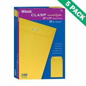 Envelope Clasp 5 Unit Case Of Yellow Clasp Envelopes 10x13 100 Per Box