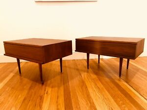 A Pair Of Mid Century Walnut End Table