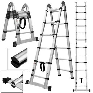 Folding 12 5ft Aluminum Platform Ladder Portable Working Telescopic Step Stool