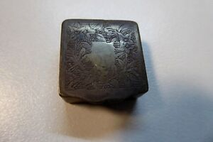 Edwardian Silver Plated Embossed Decorative Pill Box Needle Tin Case