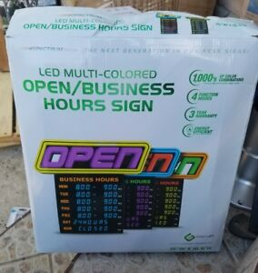 Green Light Innovation Led Spectrum Horizontal Business Hours Open Sign Open Box